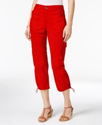 Style And Co Petite Bungee Hem Cargo Capri Pants Only At Macy's New Red Amore
