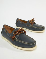 Polo Ralph Lauren Merton Leather Boat Shoes In Weathered Blue Weather Blue