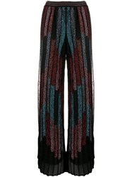 M Missoni Pleated Wide Leg Trousers Black