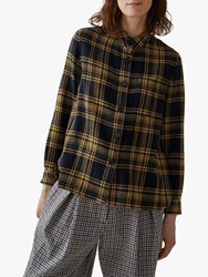 Toast Wool Gauze Check Shirt Honey Navy