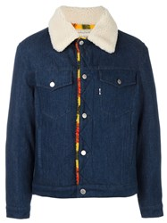 Maison Kitsune Fur Collar Denim Jacket Blue