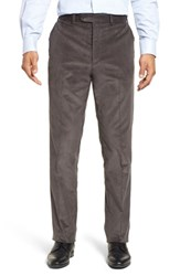 John W. Nordstrom Torino Traditional Fit Flat Front Corduroy Trousers Grey