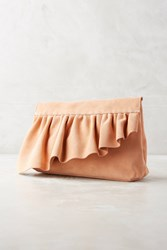 Anthropologie Marie Turnor Ruffle Clutch Rose