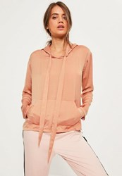 Missguided Pink Satin Hooded Blouse