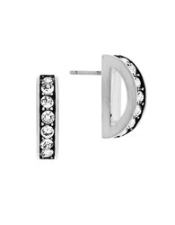 Cole Haan Crystal Rounded Pave Bar Earrings Silver
