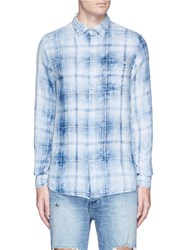 Denham Jeans Check Plaid Flannel Shirt Blue