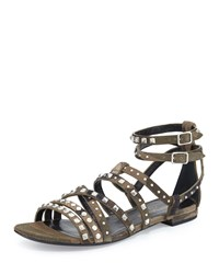 Saint Laurent Studded Flat Gladiator Sandal Camo Green Women's