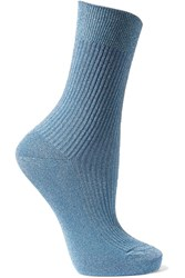 Maria La Rosa Metallic Ribbed Knit Socks Light Blue