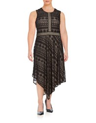 London Times Plus Asymmetric Lace Dress Black Nude