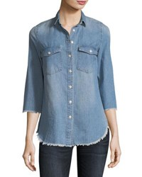 Etienne Marcel Harleth 3 4 Sleeve Raw Edge Denim Shirt Indigo