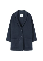 Mango Texture Unstructured Coat Navy