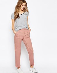 Asos Casual Chino Trousers With Roll Hem Dusty Pink
