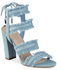 Guess Women's Evira Strappy Block Heel Dress Sandals Women's Shoes Denim
