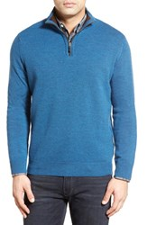 Men's Thomas Dean Regular Fit Quarter Zip Merino Wool Sweater Blue