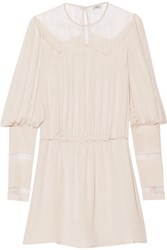 Talitha Lace Paneled Silk Crepe Mini Dress Beige