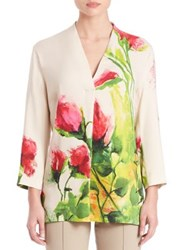 Escada Floral Print Tunic Top Cream Multi