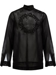 Dries Van Noten Embroidered Semi Sheer Shirt Black