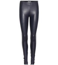 Balenciaga Leather Leggings Blue