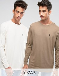 Asos Relaxed Longline Long Sleeve T Shirt With Logo 2 Pack Multi