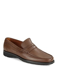 A. Testoni Pebbled Leather Loafers Cafe