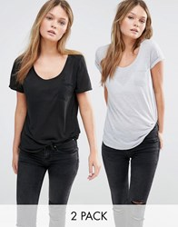 New Look 2 Pack Jersey Pocket Front Tee Grey