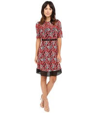 Tahari By Arthur S. Levine Novelty Embroidery Lace Dress Robins Egg Crimson Women's Dress Red
