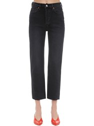 Re Done High Rise Stovepipe Stretch Denim Jeans Black