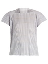 Issey Miyake Pata Pata Capped Sleeve Pleated Top Light Grey