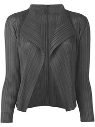 Issey Miyake Pleats Please By Pleated Open Front Cardigan Women Polyester 4 Grey