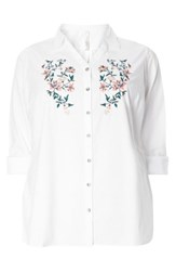 Evans Plus Size Women's Floral Embroidered Poplin Shirt White