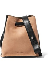 Jil Sander Small Two Tone Leather And Suede Bucket Bag Beige