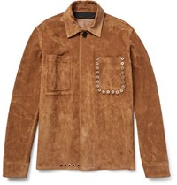 Acne Studios Amor Eyelet Detailed Suede Jacket Tan