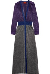 Missoni Metallic Crochet Knit Cardigan Purple