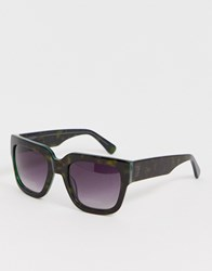 French Connection Flat Top Square Sunglasses Black