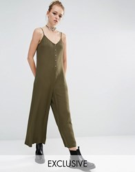 Reclaimed Vintage Button Front Minimal Jumpsuit Khaki Green