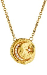 Sara Weinstock Women's Moon And Star Scapular Necklace Gold