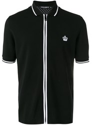 Dolce And Gabbana Zip Polo Shirt Black