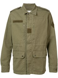 Saint Laurent Collared Military Jacket Green