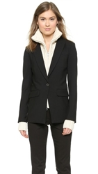 Veronica Beard Long And Lean Jacket With Upstate Dickey Black Ivory
