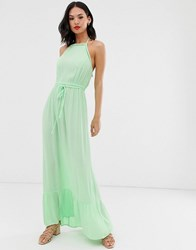 Miss Selfridge Maxi Dress With Lace Trim In Green Yellow