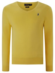 Polo Ralph Lauren Slim Fit V Neck Jumper Soft Lemon
