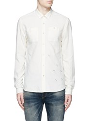 Scotch And Soda Banana Embroidery Chambray Worker Shirt White