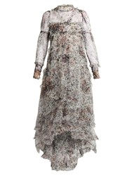 Erdem Stacey Hurst Rose Print Tiered Tulle Gown White Print