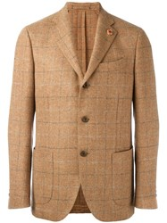 Lardini Checked Blazer Nude Neutrals
