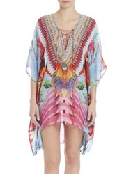 Camilla El Duende Short Lace Up Silk Caftan Coverup Multi