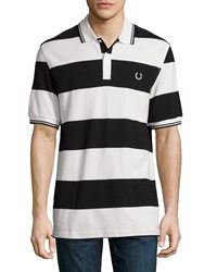 Fred Perry Bold Stripe Short Sleeve Polo Shirt White Black