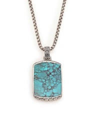 John Hardy Batu Classic Chain Turquoise And Sterling Silver Dog Tag Necklace Silver Turquoise