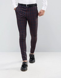 Selected Homme Super Skinny Suit Trousers In Check Burgundy Red