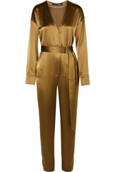 Sally Lapointe Belted Satin Jumpsuit Bronze
