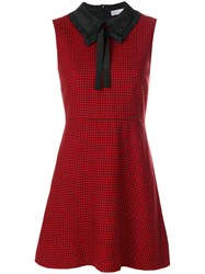 Red Valentino Houndstooth Pattern Dress Polyester Acetate Virgin Wool Red
